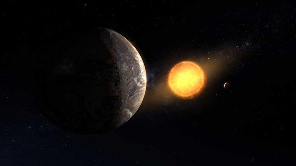 在開普勒望遠發現的兩千多顆行星中,開普勒1649c在大小與溫度上最接近地球,也同樣處於適居帶。圖為藝術家描繪開普勒1649c圍著紅矮星運行的示意圖。(NASA)