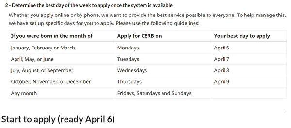 图:加拿大紧急救济补贴的申请日期表格,是根据申请人生日月份。(官网截图)