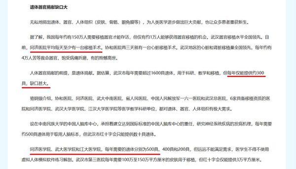 武漢市每年需要1600具遺體,而武漢市每年遺體捐獻總共才300具,缺口巨大。(網頁截圖)