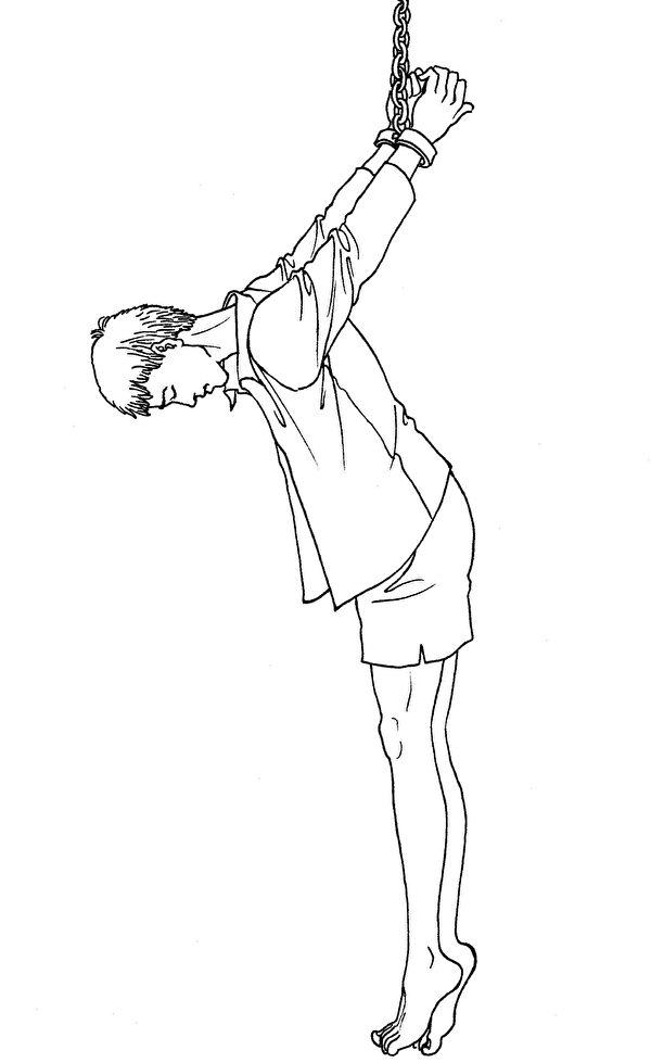 中共酷刑示意圖:吊背銬。(明慧網)