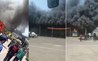 浙江省台州市仙居县车站边上的安达汽修厂一单层汽修间起火。(视频截图合成)