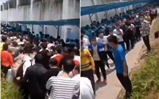 深圳某地工厂招聘50名工人,然而,前来面试的人约有百余人。(视频截图合成)