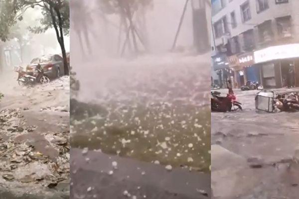 【現場影片】有億年藏字石的平塘縣大降冰雹