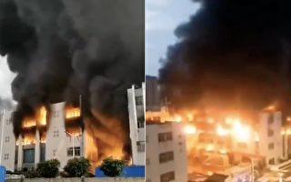 【現場視頻】廣東東莞長安鎮塑膠製品廠著火