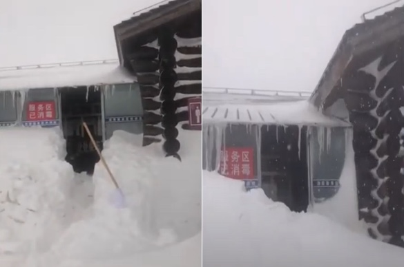 【現場影片】長白山大雪連下10天 累積2米深
