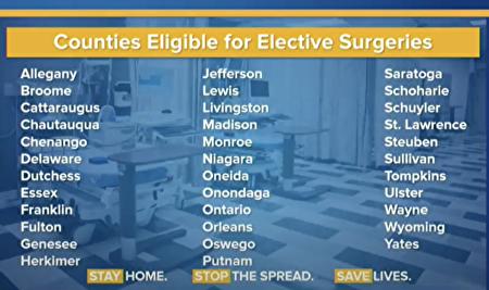 可符合恢復門診手術的35個郡縣。