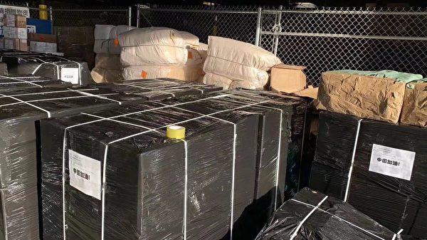 早在2月份,華美協會協助天馬物流,在當地發起募捐,從微信朋友圈看到、正在打包的醫療物資有三十多個Pallet(打托盤),幾十噸的物資。但所發出來寄回大陸的圖片,義工們看到還不到一個打托盤,不成正比。(讀者提供)