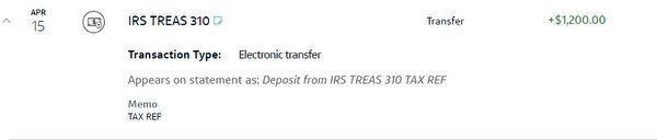 紐約華人陶女士4月15日一早查到,聯邦發放的紓困金到帳了。(陶女士提供)