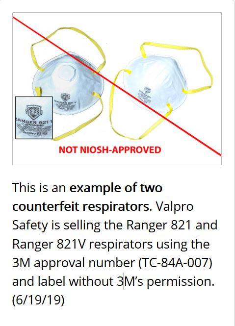 美國疾病控制和預防中心(CDC)在其官方網站上發佈的Valpro Ranger 821及821V面罩偽造品。(CDC網站)