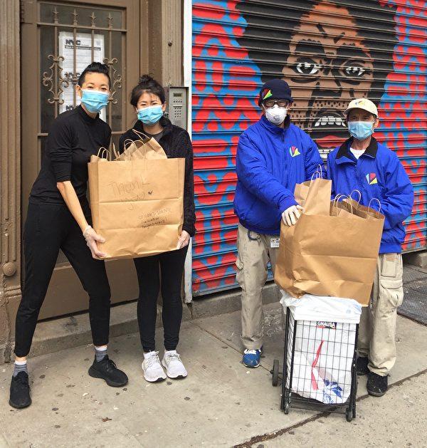 2020年4月8日,華埠BID鄰里蔡孟伶和張英華兩個女孩給清潔工們做午餐。(BID提供)
