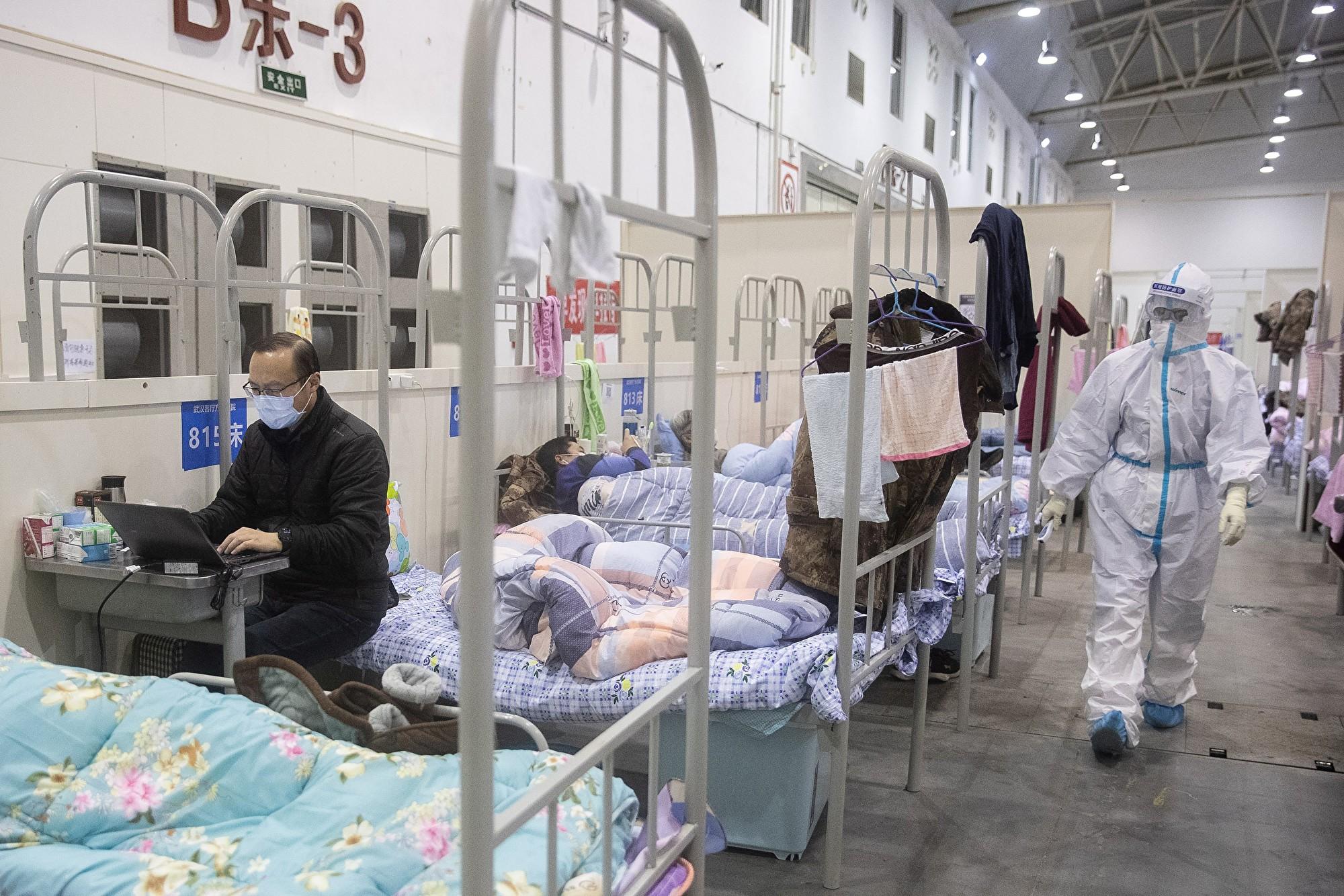 2020年2月17日武漢某方艙醫院。(Photo by STR/AFP via Getty Images)
