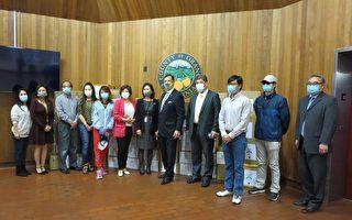 华裔社团向橙县警局和消防局捐赠防护品