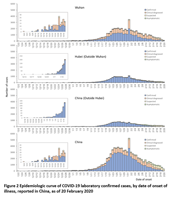 截至2020年2月20日,中國報告的疫情圖。(世衛組織)
