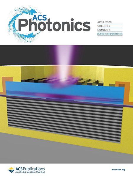 交通大學與瑞典查默斯理工大學合作研究的第一個藍紫光面射型雷射,榮登國際期刊4月號的封面。