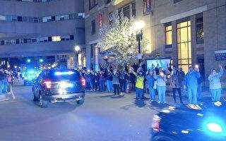 视频:波士顿警车大游行 纪念马拉松爆炸案