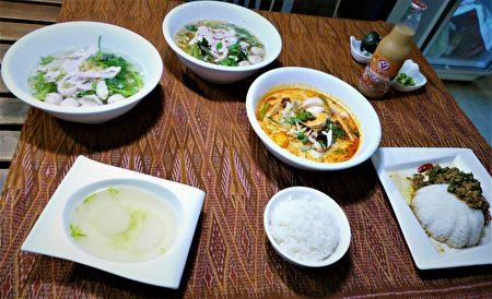 美味泰国料理:打抛猪肉饭、酸辣清汤面、酸辣浓汤面。