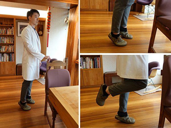 踮脚尖:手扶椅背并慢慢踮起脚尖,记得穿较厚的室内拖鞋。当肌力足够时可进阶用单脚踮脚尖。(杨宗翰提供)
