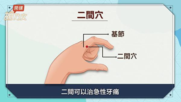 止牙痛的穴位:二间穴。(胡乃文开讲提供)