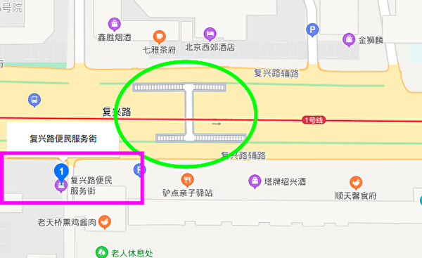 事故发生地在长安街西复兴路(东西向)与东翠路(南北向)交叉口的天桥上。(百度地图截图)