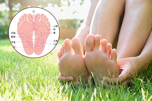 腳掌被稱為身體的「第二個心臟」。按摩足部可以促進血液循環,影響全身健康。(大紀元製圖)