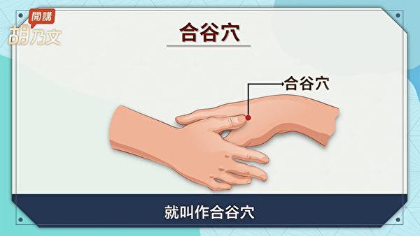 止牙痛的穴位:合谷穴。(胡乃文开讲提供)