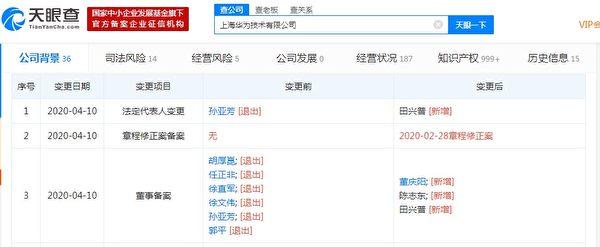 4月10日,上海華為技術有限公司發生工商變更。(網絡截圖)