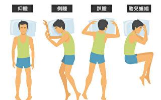 仰臥、側睡、趴睡和胎兒蜷縮,這些睡姿哪種適合你?(Shutterstock/大紀元製圖)