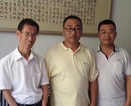 2016年夏天,趙中元醫生(中)與劉士輝律師(左)和江天勇律師(右)。(趙中元提供)