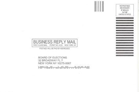 申请表寄回选举局的回邮信封。
