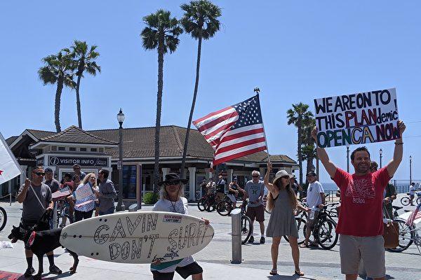 民眾繼續在加州海灘抗議 憂紐森極左傾向