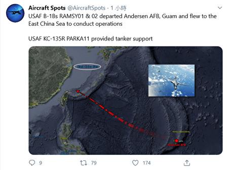 圖為美國空軍B-1B超音速轟炸機近期的飛行路線。