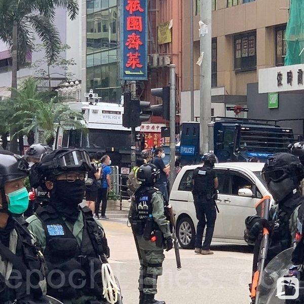 2020年5月24日,香港反國安法遊行。圖為藍水炮車。(音音/大紀元)