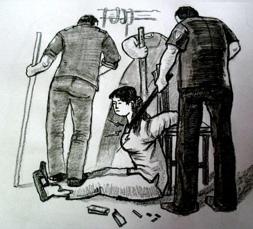 中共酷刑示意圖:電棍電擊。(明慧網)