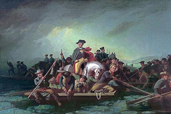 美国画家 George Caleb Bingham 的油画作品《华盛顿横渡德拉瓦河》。(公有领域)