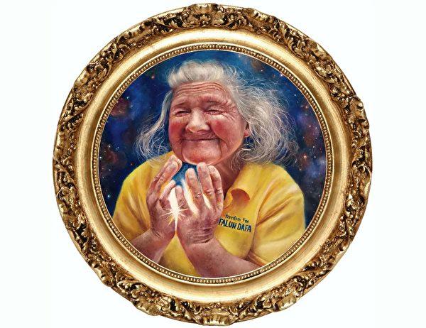 油畫:「慈悲之光」 規格:50厘米 作者:塞浦路斯法輪功學員Ioanna Kalogirou (明慧網)