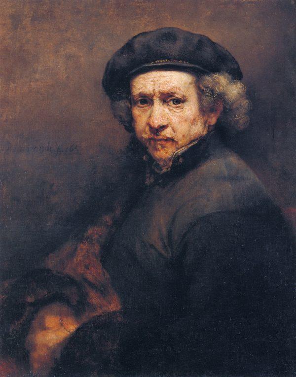 伦布朗的作品《自画像》,1659年。(纽约大都会艺术博物馆)