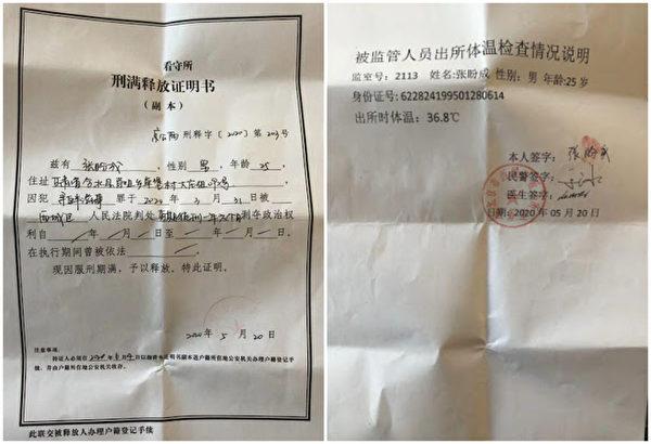 北大保安張盼成5月20日刑滿出獄。(維權網)