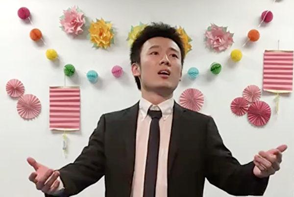 新世紀影視513慶祝活動劇照——男聲演唱《法輪聖王》。(新世紀影視提供)