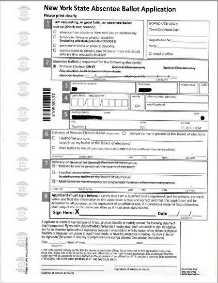 6月23日初选缺席投票的申请表。