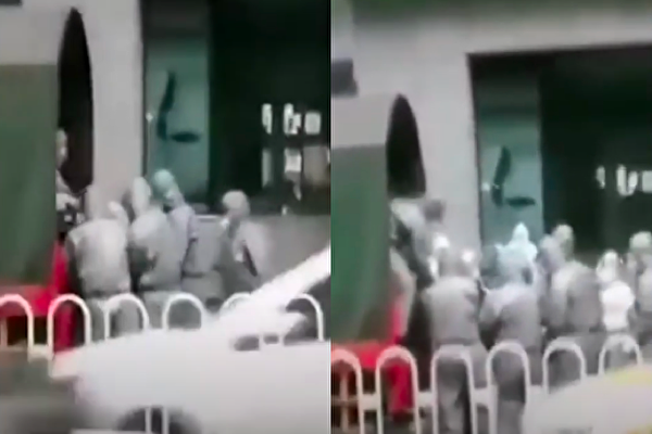 網傳視頻顯示,武漢中山大道六渡橋麗楓酒店,已經抬出很多病患。(視頻截圖合成)