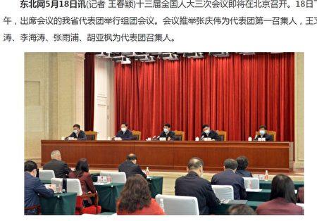 在「兩會」前的5月18日下午,出席中共全國人大會議的黑龍江代表團公開舉行了組團會議。(網絡截圖)