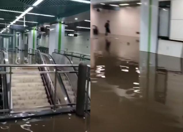 【現場影片】長沙一地鐵大量湧水 涉貪腐案