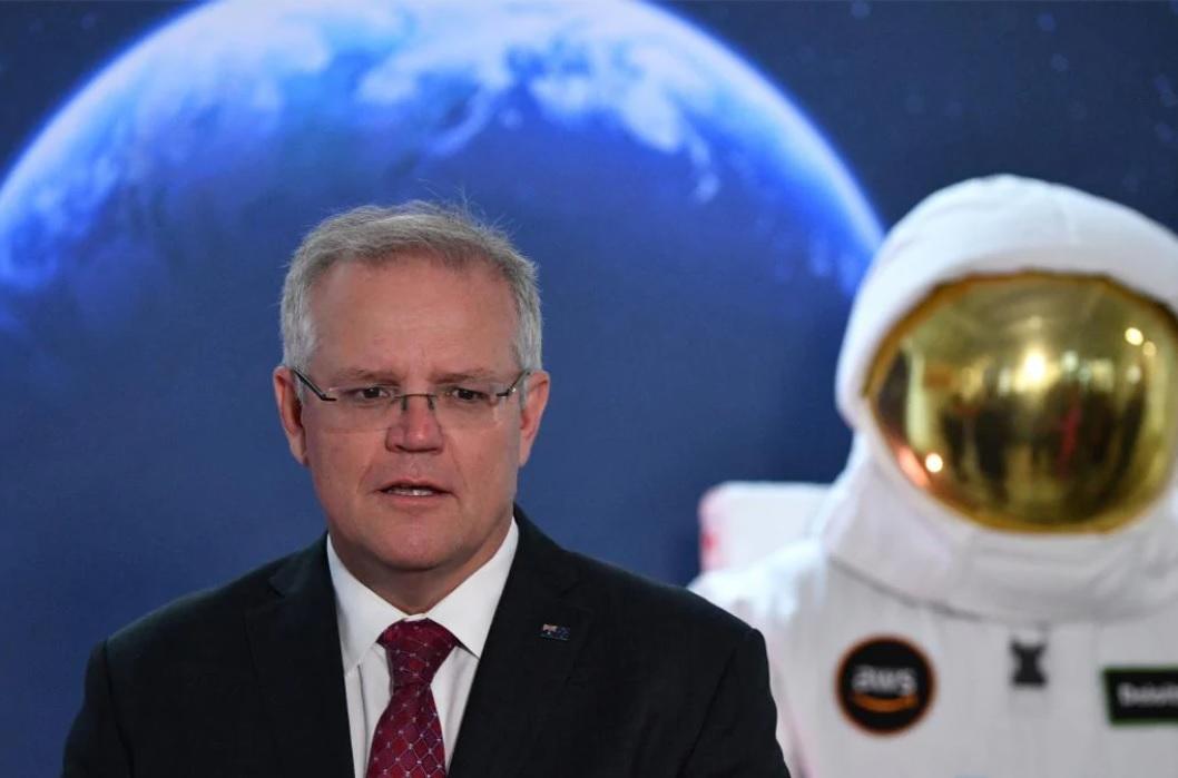 澳總理莫里森(Scott Morrison)在澳航天局(ASA)發表講話。(AAP)