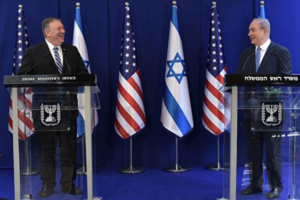 蓬佩奧5月13日訪問以色列,與以色列總理內塔尼亞胡(Benjamin Netanyahu)會面。(Kobi Gideon/GPO via getty Images)