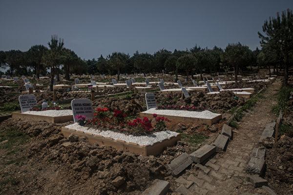 2020年5月16日,土耳其伊斯坦布爾,Kylyos墓地裏面的一個指定地點用來埋葬中共病毒死者的屍體。(Chris McGrath/Getty Images)