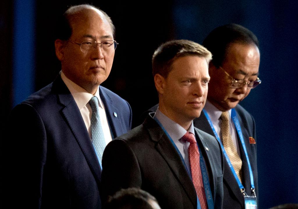 2017年5月14日,時任美國國家安全委員會東亞區資深主任的博明,抵達北京,參加一帶一路相關會議。(MARK SCHIEFELBEIN/AFP via Getty Images)