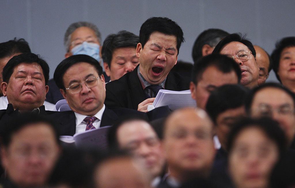 2019年兩會場景,代表們昏昏欲睡。(Guang Niu/Getty Images)