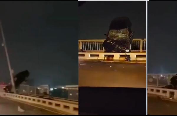 【现场视频】武汉长江大桥现事故 车子悬在半空