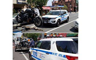 警察清理法拉盛北方大道违规停泊的摩托车