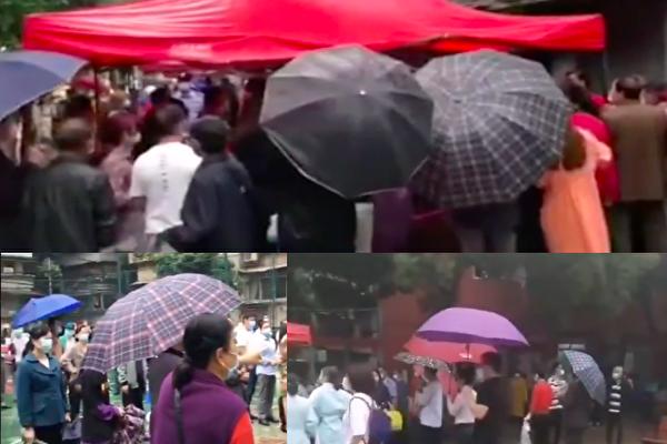 有視頻顯示,武漢當地市民冒雨排隊做檢測。(視頻截圖合成)